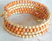 Wood and Gold Stacked Bangles Inspired Bracelet