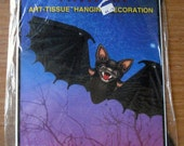 "Vintage 1987 24"" Beistle Halloween Art-tissue Hanging Bat"