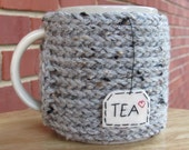 hand knitted tea mug cozy cup cozy in gray grey marble