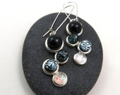 Ombre Earrings - Black, Grey, Silver Earrings - Dichroic Glass Earrings