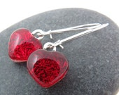 Red Heart Earrings - Valentine Dangle Earrings - Made to Order