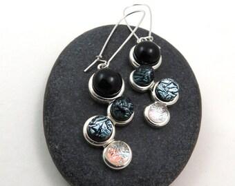 Ombre Earrings - Black, Grey, Silver Earrings - Dichroic Glass Earrings