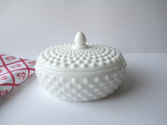 Vintage Fenton Milk Glass Hobnail Low Candy Jar