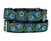 """14-18"""" Martingale Dog Collar PEACOCK 1.5"""" black and teal peacock feathers"""