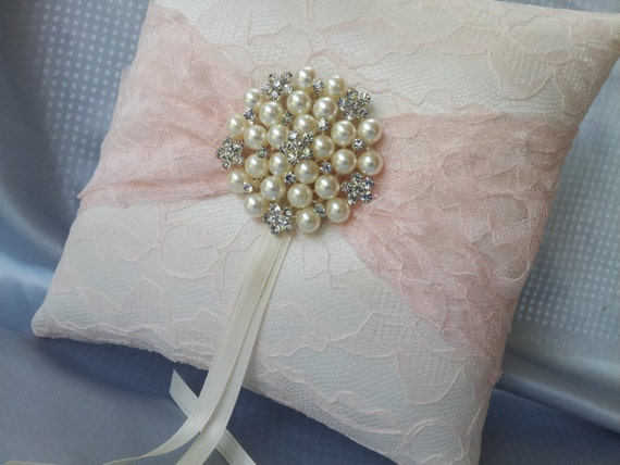 Light Pink Satin Throw Pillows : Blush Light Pink Ring Bearer Pillow Ivory Satin Lace Ring