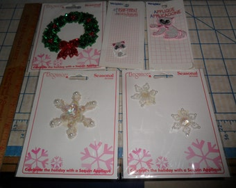 5 Packages of Appliques - Sequined Christmas Wreath and Snowflakes and 2 kittens