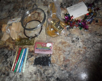 Vintage Craft Supplies - Old Metal embroidery Hoops - glue sticks - wood bow - metal stencil