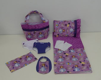 Bitty Baby Basics in Princess Sofia - Diaper Bag and Diapers with Blanket and Pillow