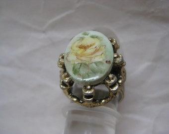 Shabby Flower Rose Yellow Gold Ring Vintage Adjustable Ceramic
