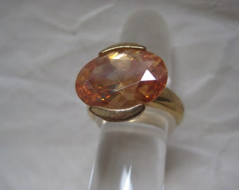 Gold Orange Chunky Stone Ring Vintage Size 8 Faceted Oval