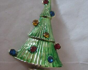 Christmas Tree Green Rhinestone Brooch Gold Blue Red Vintage Pin Dangle
