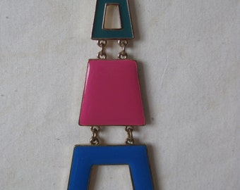 Chunky Modern Aqua Blue Pink Gold Necklace Vintage Pendant