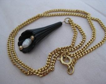 Black Gold Pearl Necklace Vintage Pendant