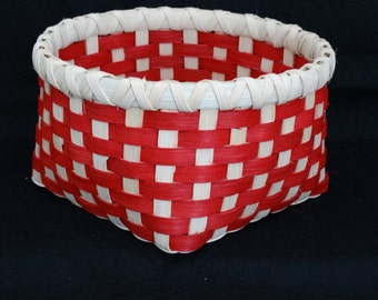 Hand Woven Basket in True Red and White (Natural).  Storage Basket. Baskets.  Hand Made Baskets in fun colors!