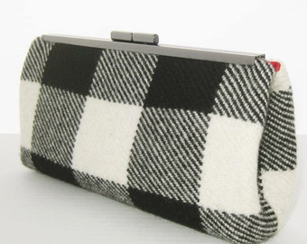 SALE Ready to Ship - CASHMERE Clutch Purse with Chain - Luxuriously Soft - Black and Winter White Plaid - RED Silk Lining