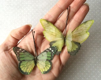 Handmade Butterfly Hair Bobby Pins in Green Cotton and Silk Organza Fabric - 2 pieces