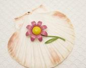 Vintage Flower Brooch Sixties Jewelry Pink Flower Brooch P6127