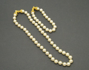 Pearl Necklace Bracelet Set Glass Vintage Jewelry S6175