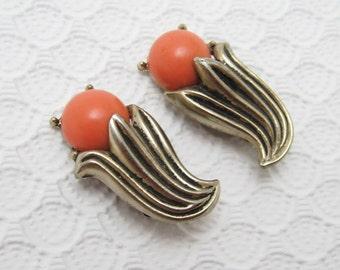 Vintage Earrings Flower Costume Jewelry E6300