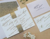 Romantic Wedding Invitation, Gold and Blush Belly Band Invitation, Gold Glitter Invitation DEPOSIT