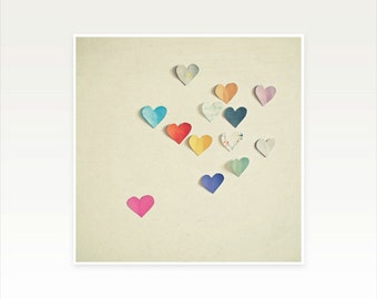 Heart Artwork, Love Heart Photograph, Whimsical, Romantic Wall Art, Colourful, Minimal Decor, Gift for Woman, multcoloured - Paper Hearts