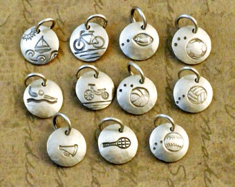 """3/8"""" Inch sterling silver disk, disc, round, charm, add on, sports, balls, small, dainty, charm bracelet, handstamped, rustic, oxidized"""