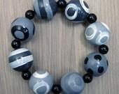 SALE! Hand-painted Wooden Bead Bracelet - Grey - White - Black - Elasticated
