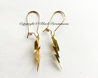 Lightning Bolt Earrings - Gold Filled Flat Pendant Charm - Free Domestic Shipping