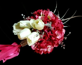 Silk Floral Wedding Bouquet White Tulips Red Pink Hydrangeas Quinceanera Sweet 16