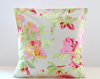dusky pink roses cushion cover, silver grey and green 16 inch decorative pillow cover