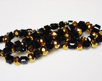 Gold and Black Bracelet / Genuine Black Jet / Gold Metallic Crystals / SHINY / Beautiful / Eye Catching / Chic / Always in Style / Classic