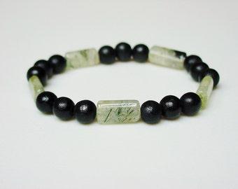 Rutilated Lemon Quartz and Black Wood Bracelet / Unisex Bracelet / Stone and Wood Bracelet / Beaded Bracelet / Black / Green / Translucent