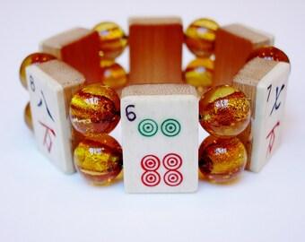 Mah Jong Bracelet / Vintage / Bone / Bamboo / Dovetailed / Handcarved / 1930's / Mahjong / Mahjongg / Mah Jongg / Mah-jong / Amber / Glass
