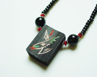 100 Year Old Black Bamboo Mah Jong Tile Necklace / Very Rare / Exquisite / Sparrow / Hand-Carved / Black Onyx / Coral / Sterling Silver