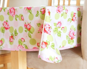 Laminated Cotton Tablecloth - Falling Roses in Pink or Blue