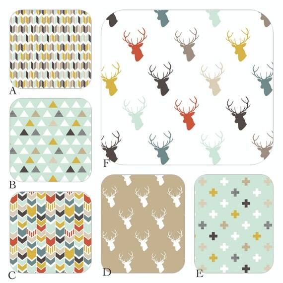 Boy Woodland Crib Baby Bedding in Mod Woodland, Deer Woodland Tan, Aqua, Mint and Red