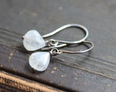 Moonstone Earrings Sterling Silver Rustic Jewelry White Moonstone Earrings Rose Gold