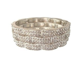 Vintage Rhinestone Bracelet, Bangle, Wide Cuff, 1950s Crystal Statement Jewelry, Wedding Jewellery