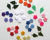 Felt Flowers and Leaves Assortment, Wool Felt Applique, Die Cut Flowers, Felt Embellishments