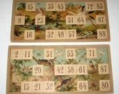 Reserved for GOTHAMDECORATIONS 2 Beautiful Rare Victorian Lithographed Lotto Cards w/ Birds Background