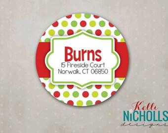 Custom Christmas Sticker Envelope Seal, Lime Green & Red Polka Dot Return Address Label