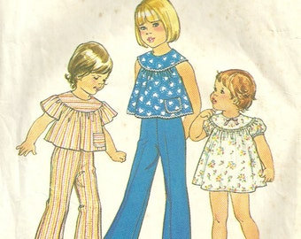 1970s Simplicity 7365 Toddlers Shaped Yoke Dress Top and Pants Pattern Girls Vintage Sewing Pattern Size 4 Breast 23 OR Size 1 Breast 20