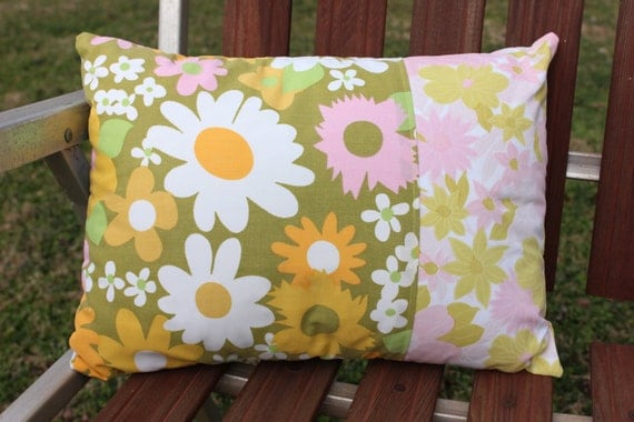 Pillow Vintage Pink Flower Fabric Small 11 x 15