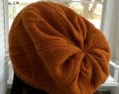 Burnt orange wool tam, recycled fabric, unisex