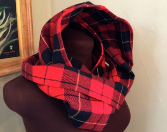 Red and Black plaid infinity scarf, vintage recycled wool