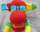 Sockimamy Rainbow the LONG multistriped sock monkey, sock animal, hand stitched, retro monkey, bright colors, plush, baby safe, nursery gift