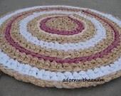 Shabby chic circle crocheted rag rug, eco friendly, washable, bath mat, durable, kitchen rug, home decor, rose ecru, french decor, floral