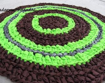 Lime surprise crocheted circle rag rug, eco friendly, washable, bright colors, durable,bath mat, durable, bath mat, kitchen, home decor