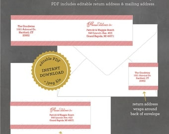 INSTANT DOWNLOAD Printable Address Label, Red Stripe Address Label