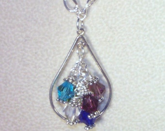 Sterling Silver Filled Teardrop Necklace with 1-6 Swarovski Birthstones - Mothers, Grandmothers - 2 Only